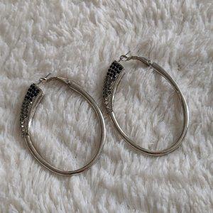 Jessica Simpson Silver Hoops w/ Black Grey Crystal
